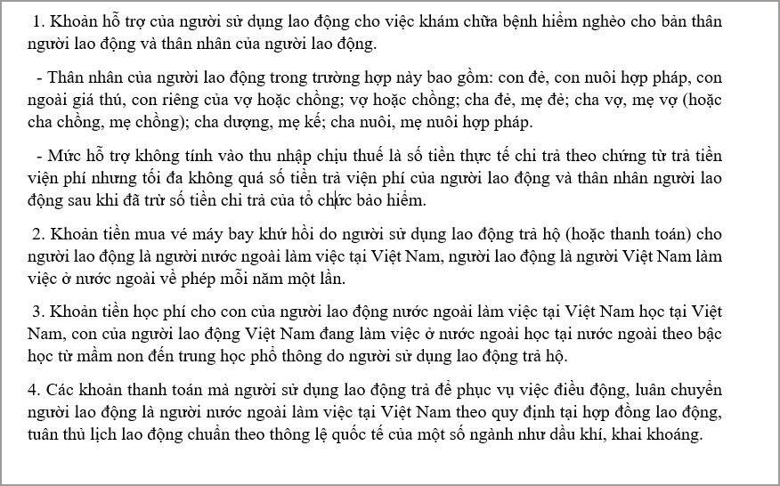 Cac khoan thu nhap khong chiu thue tncn khac theo Dieu2 TT111