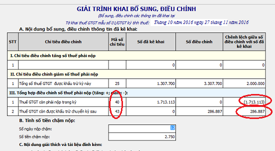 kê khai bổ sung điều chỉnh thuế GTGT