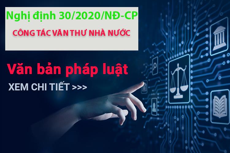 nghị định 30/2020/nđ-cp về công tác văn thư