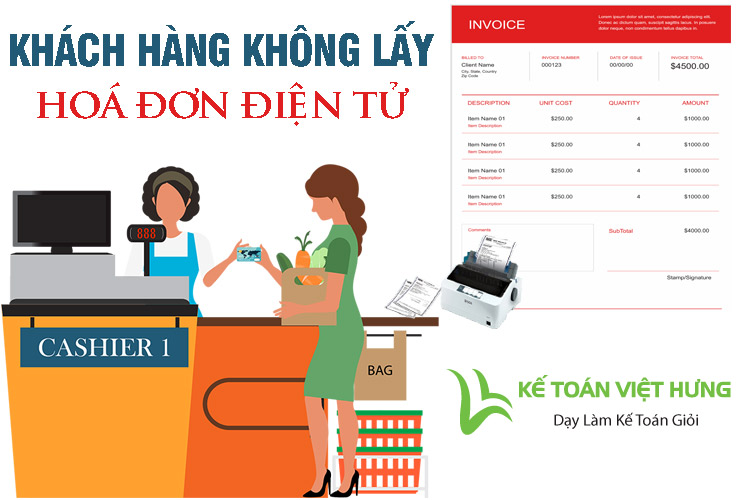 khách hàng không lấy hoá đơn điện tử