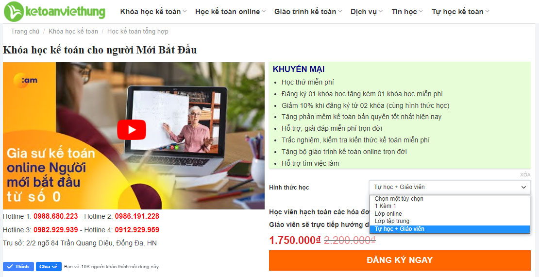 đăng ký học kế toán online người mới bắt đầu