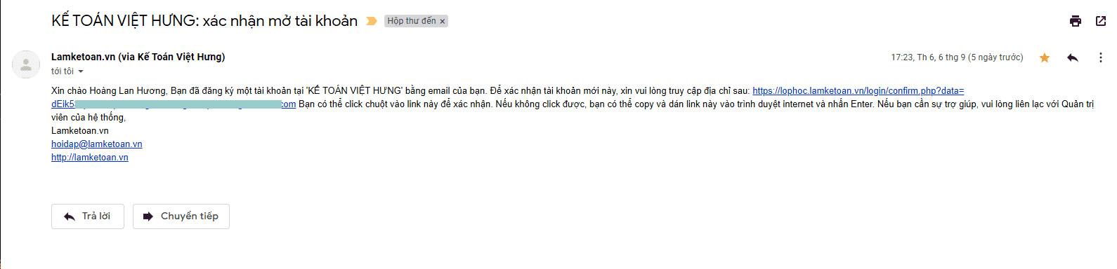 email đăng ký học kế toán online